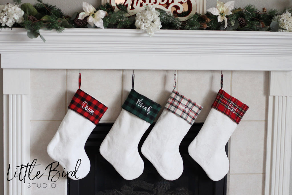 Plaid Christmas Stocking | White Boot