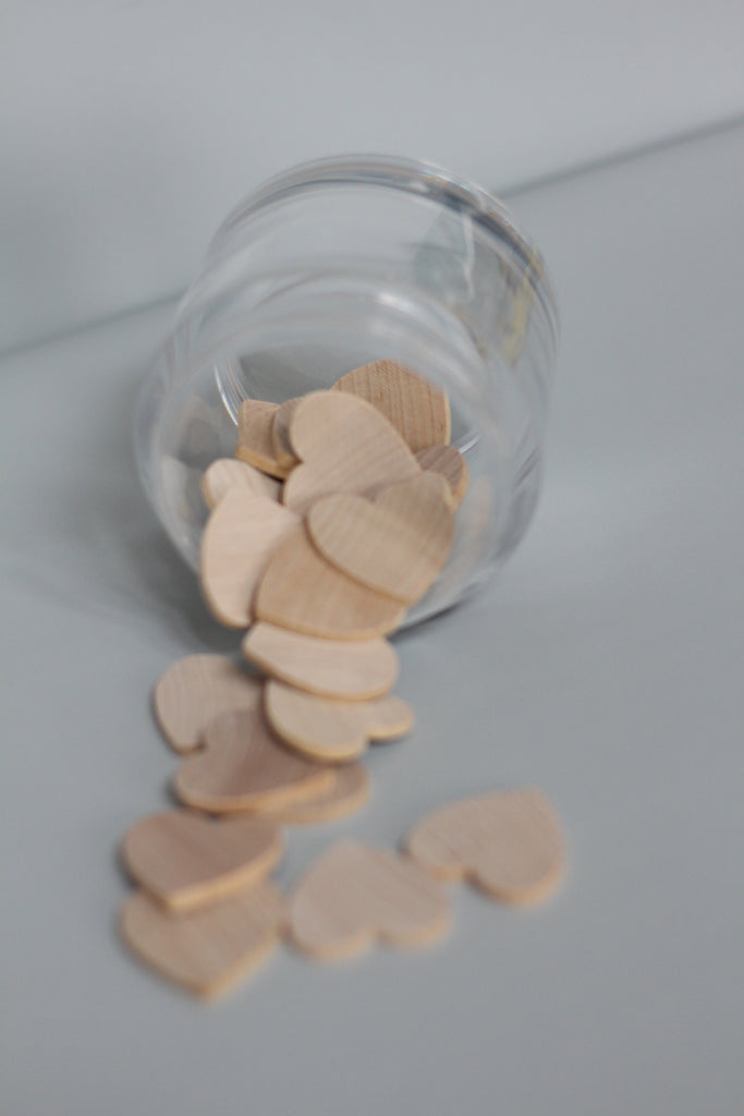 Sensory Play Wood Coins + Hearts