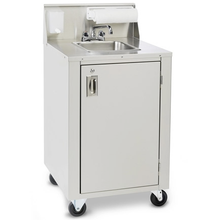Crown Verity CVPHS-4 Portable Hand Sink, Stainless Steel, Hot Water, Compact Spacesaver