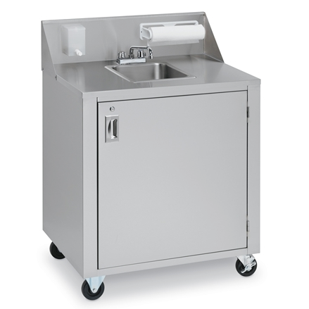 Crown Verity CVPHS-1 Portable Hand Sink, Stainless Steel, Hot Water, Single Bowl