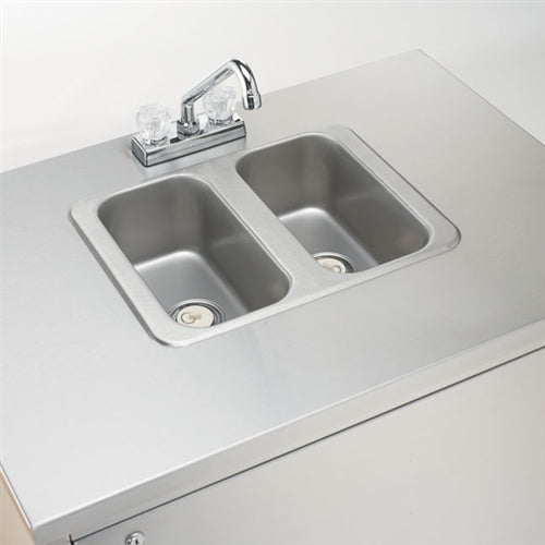 Crown Verity CVPHS-2 Portable Hand Sink, Stainless Steel, Hot Water, Dual Bowl