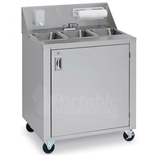 Crown Verity CVPHS-3 Portable Hand Sink, Stainless Steel, Hot Water, Triple Bowl