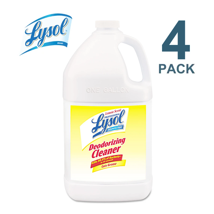 Lysol Disinfectant Deodorizing Cleaner Concentrate, 1 Gal Bottle, Lemon, 4/Carton - RAC76334CT