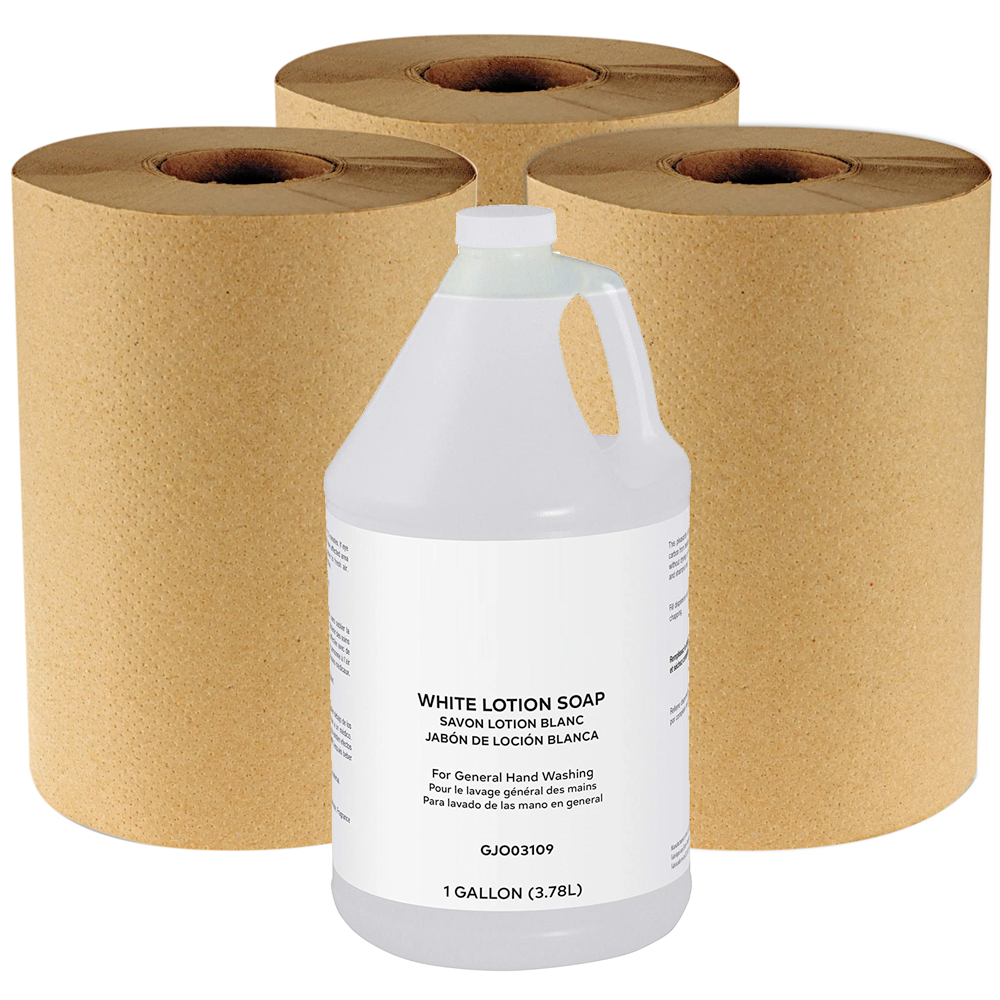 MOBI Starter Kit w/ 1 Gallon of Liquid Hand Soap and 3 Paper Towel Rolls