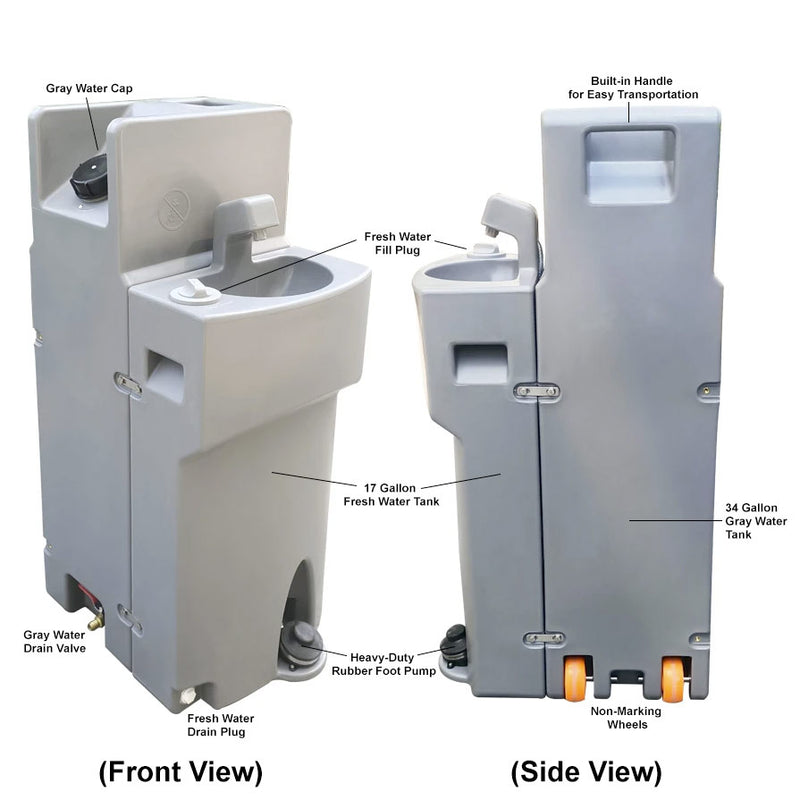 MOBI Portable Hand Washing Sink, Heavy-Duty HDPE Plastic, Non-Heated - MOBI1-926