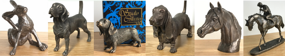 Genuine Cold Cast bronze dogs, horses, hares and other animal figurine sculpture ornament decorations