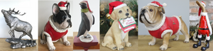 Dog Duck Pig Penguin in Christams Santa Claus outfits novelty animal lover festive ornament figurine decoration