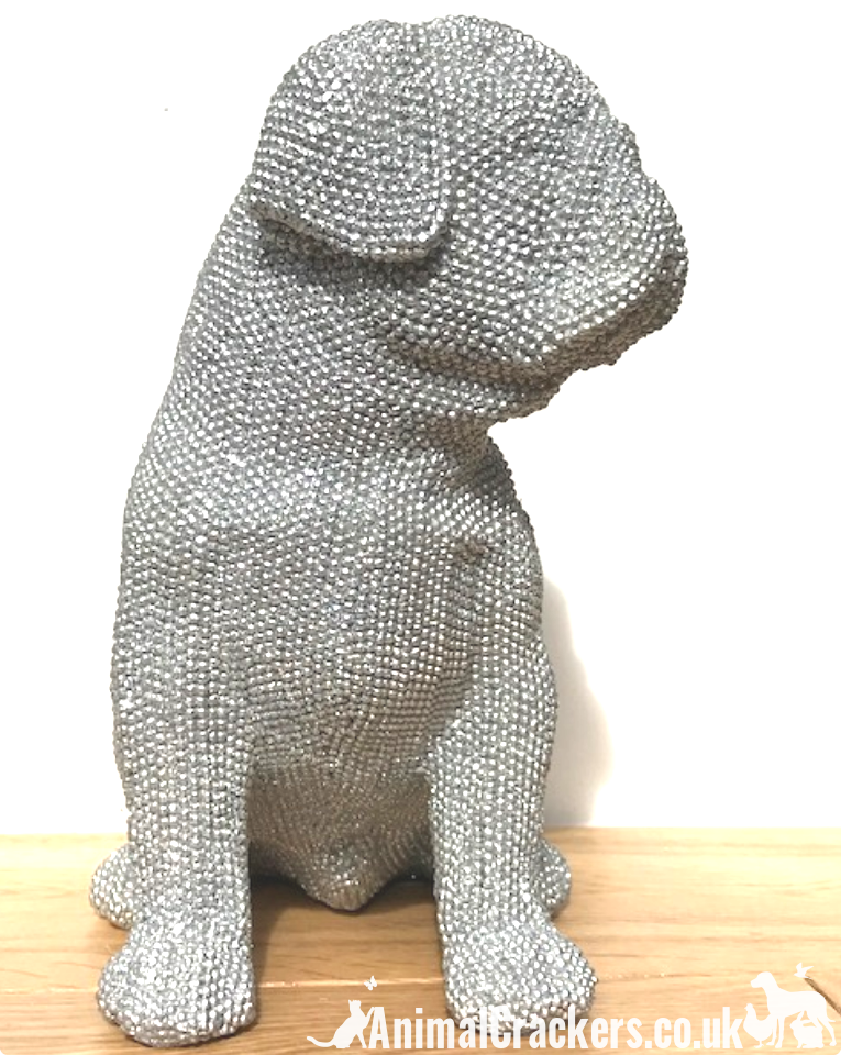 EXTRA LARGE!! 26cm Glitzy glittery silver diamante sitting Pug ornament decoration