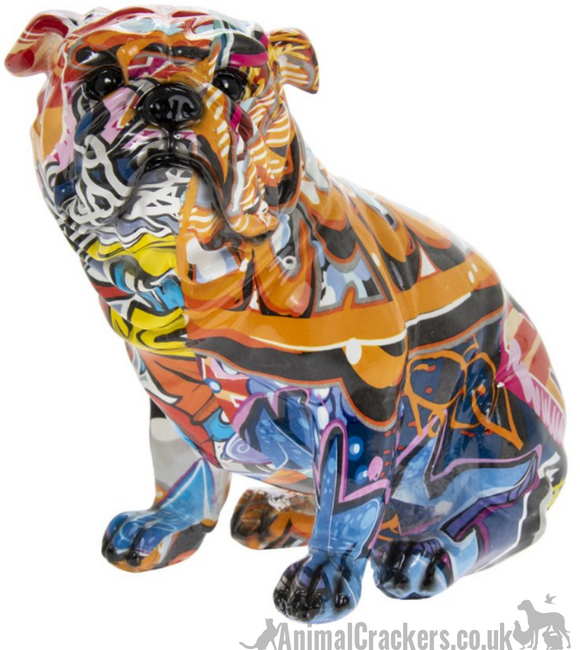 Graffiti Art bright colour painted Bulldog ornament figurine Bull Dog lover gift