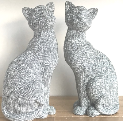 Large 25cm Glitzy glittery silver diamante effect Cat ornaments, available in 2 styles or as a pair