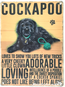 20cm Metal old style Black Cockapoo Cocker Poodle breed character hanging sign