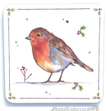 Set of 2  'Winter Robins' by Leonardo design Mugs in quality presentation gift box, together with 4 FREE COASTERS, great bird lover gift
