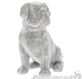 "Extra Large 10"" Glitzy glittery silver diamante Pug ornament figurine decoration"