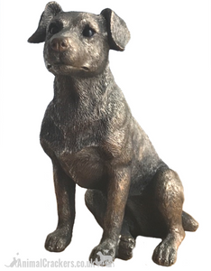 Bronzed Jack Russell Terrier ornament figurine, by Leonardo exclusively for Animal Crackers. Gift boxed