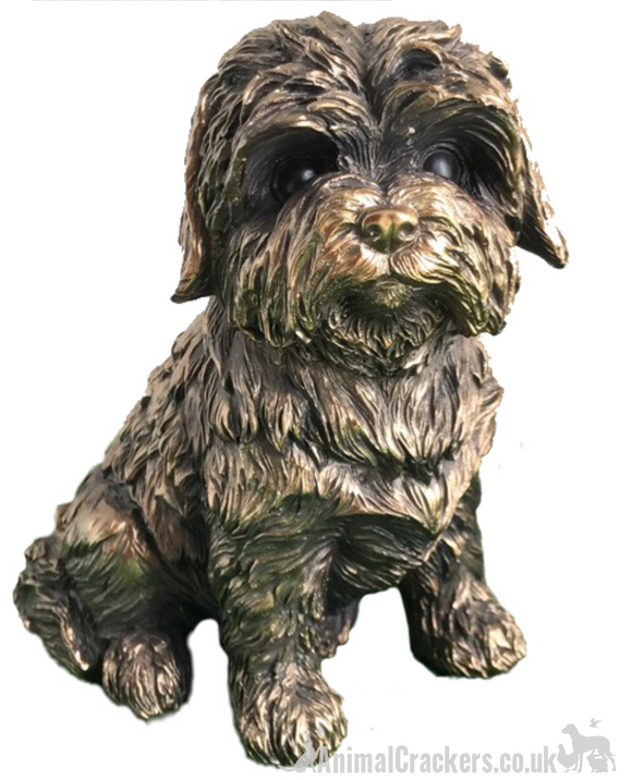 Bronze effect Shih Tzu ornament figurine, Leonardo for Animal Crackers Exclusive, gift boxed