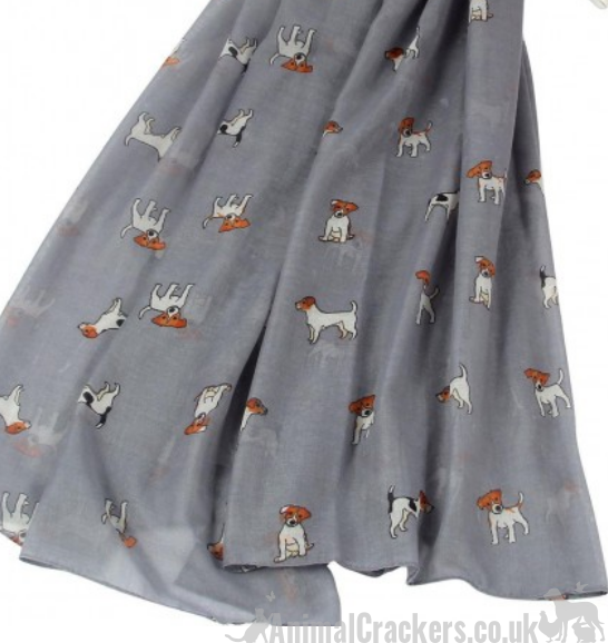 Ladies lightweight cotton mix Jack Russell print Scarf Sarong in choice of colours