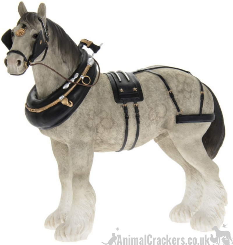 Large 22cm Grey Shire Cart Heavy Horse in harness ornament figurine, Leonardo range, gift boxed