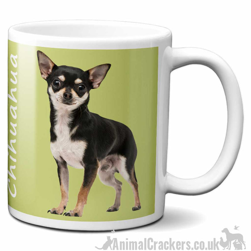 Black & Tan Chihuahua design ceramic Mug in choice of colours, great Chihuahua lover gift