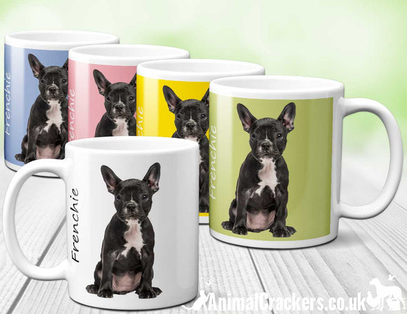 Black & White French Bulldog ceramic Mug in choice colours, great Frenchie lover gift