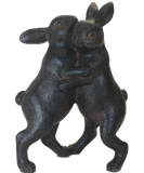 Dancing Rabbits ornament sculpture bronze /clay effect hare bunny lover gift