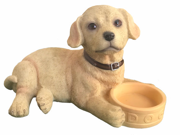 Golden Labrador Puppy with Bowl ornament quality lifelike Leonardo, Gift boxed