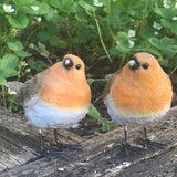 SET OF 2 ROBIN ORNAMENTS indoor or outdoor garden decoration, ideal robin lover gift
