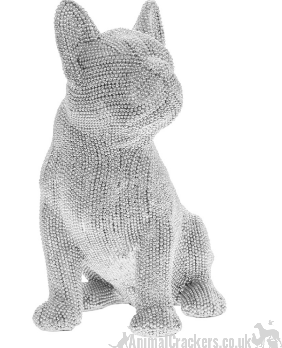 Extra large Glitzy French Bulldog Frenchie ornament figurine glittery decoration