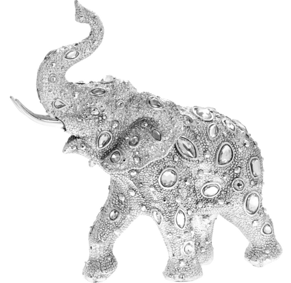 Glitzy silver sparkly diamante Elephant ornament figurine decoration sculpture