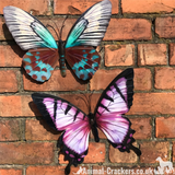 2 large 35cm metal Butterfly wall art decorations, one Pink one Teal, boxed