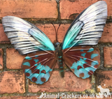Large 35cm bright Teal metal Butterfly garden ornament wall art decoration boxed