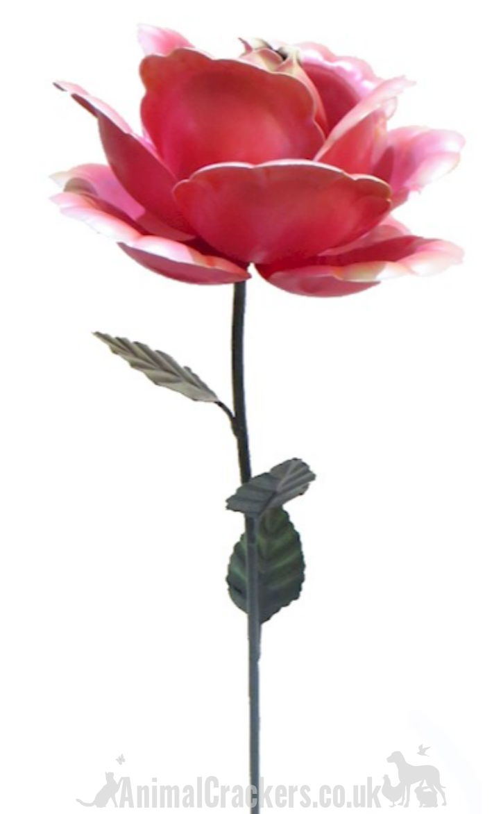 63cm metal pink ROSE garden ornament flower decoration, great Valentine's or Mother's Day gift
