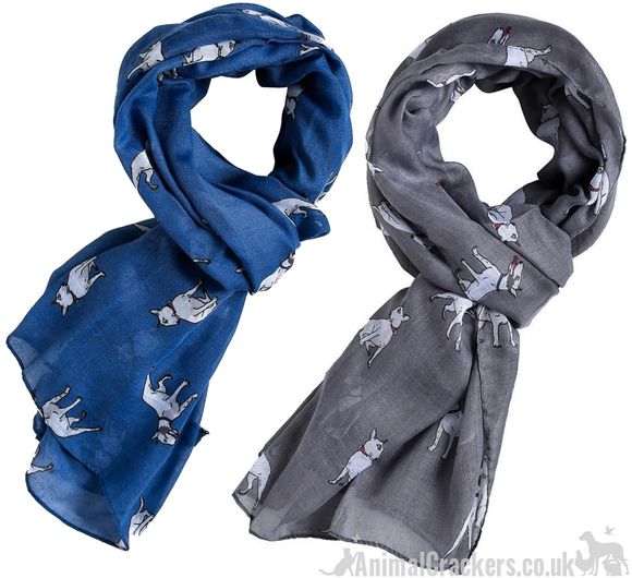 English Bull Terrier Blue or Grey Scarf Sarong dog lover gift stocking filler