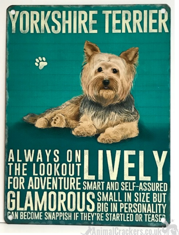 20cm metal Yorkshire Terrier Yorkie lover breed character hanging sign plaque