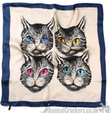 Striking Cat Face print lightweight silk mix scarf headscarf neckerchief, great Cat lover gift