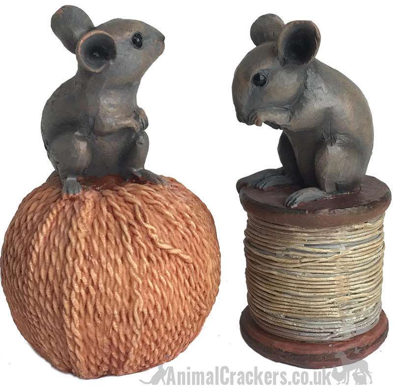 SET OF 2 old antique effect mice ornaments, one on a reel, one on a ball of string, great sewing fan or mouse lover gift