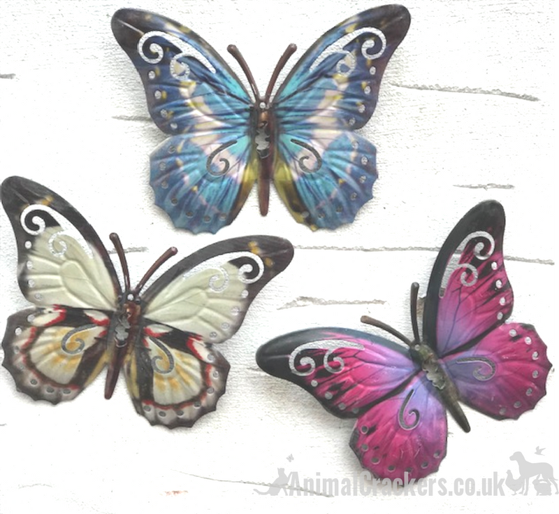 Set of 3 16cm pink blue white coloured metal Butterfly garden decoration wall art