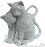 Glitzy glittery silver diamante effect Two Cats ornament figurine sculpture