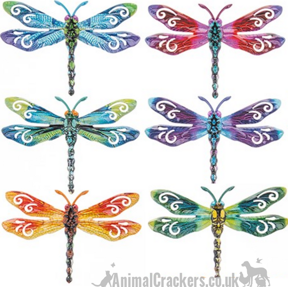 Set of 6 coloured metal 17cm Dragonflies wall art decorations Dragonfly lover gift