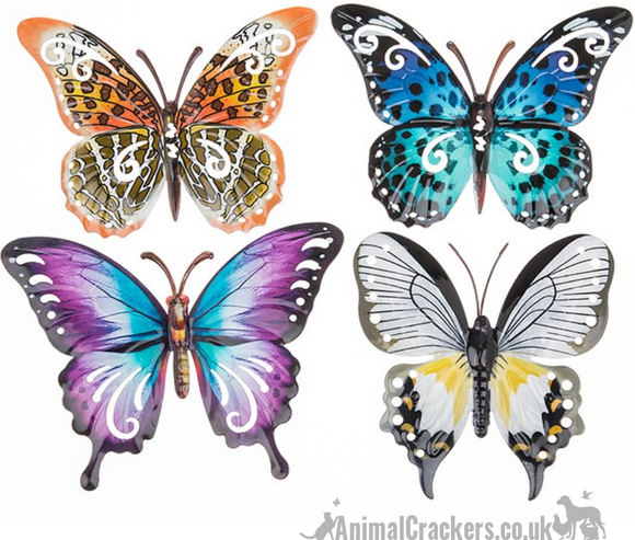 Set of 4 bright 24cm Metal Butterflies garden decoration wall art butterfly lover