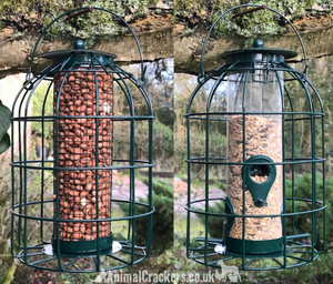 SPECIAL OFFER - 2 FOR £14.95! Set of 2 (1 seed + 1 nut) robust metal Squirrel guard bird feeders