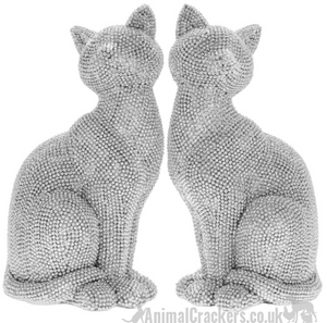 Glitzy glittery silver diamante sitting Cat ornament figurines BUY PAIR OFFER