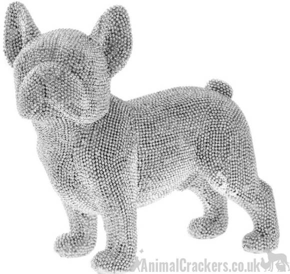 Glitzy glittery silver diamante Stood French Bulldog Frenchie ornament figurine