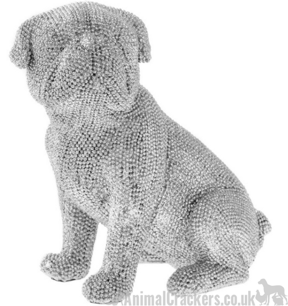 Glitzy silver diamante sat Pug ornament figurine glittery decoration sculpture