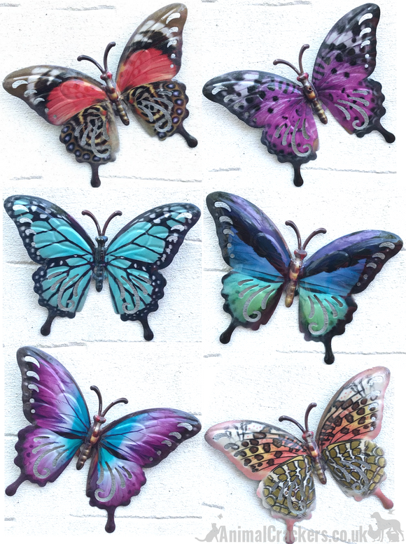 Set of 6 17cm bright coloured metal Butterflies decoration wall art butterfly lover