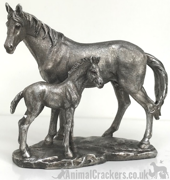 Aged silver effect Mare & Foal ornament figure sculpture statue horse lover gift