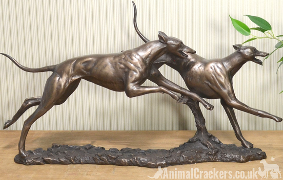 David Geenty 'Winner' large Racing Greyhounds Bronze ornament figurine sculpture