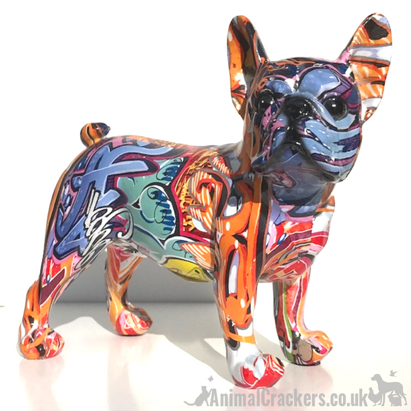 Graffiti Art bright coloured paint splash effect standing French Bulldog 'Frenchie' ornament figurine