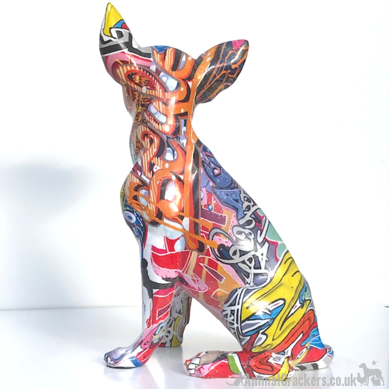 Graffiti Art bright coloured paint splash effect sitting Chihuahua ornament figurine