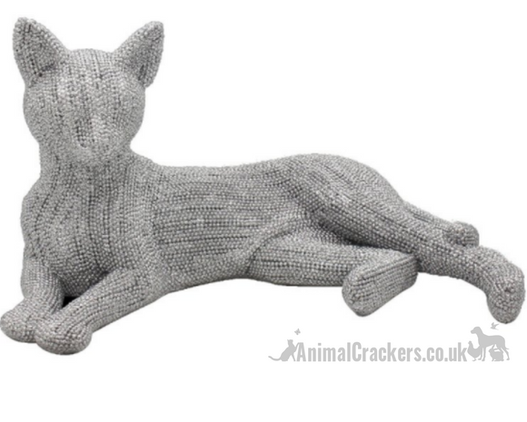 28cm Laying Cat ornament, glitzy glittery silver diamante effect figurine from Lesser & Pavey