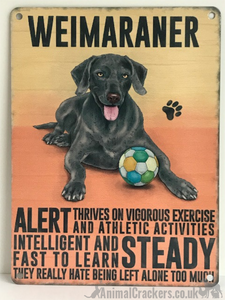 20cm metal retro vintage style Weimaraner breed character hanging sign plaque